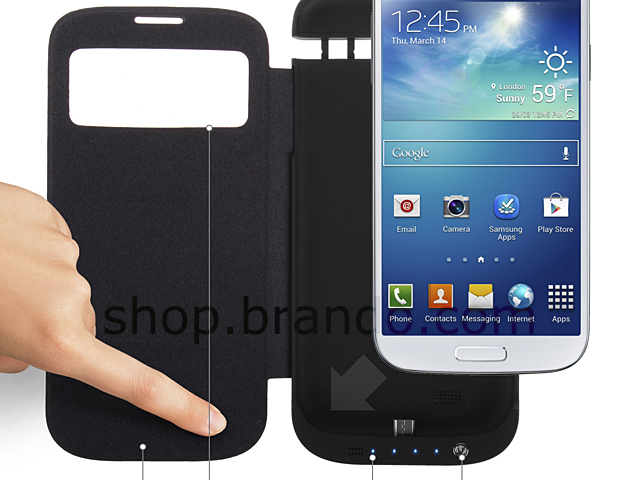 Power Case For Samsung Galaxy S4 with Cover - 4500mAh
