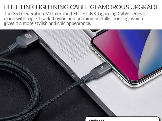 Momax Elite Link Triple-Braided Nylon Lightning Cable