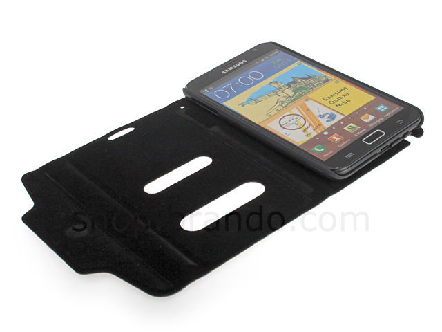 Samsung Galaxy Note Ultra Slim Side Open Leather Case With Display Caller ID And Answer Call