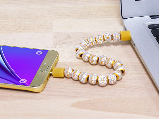 Bling Bead Bracelet microUSB Cable