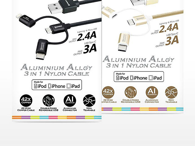Xpower 3-in-1 Aluminium Alloy Cable