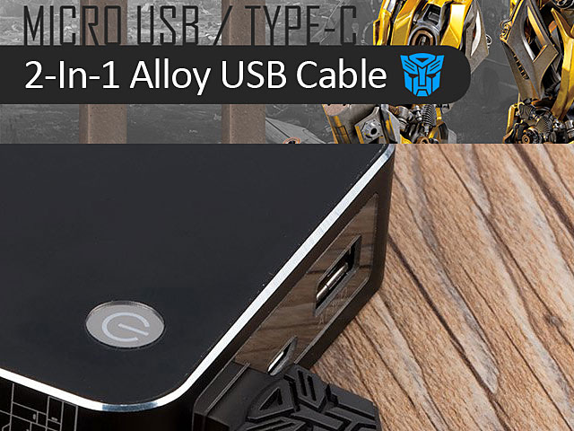 Transformers 2-In-1 Alloy Micro USB/Type-C USB Cable