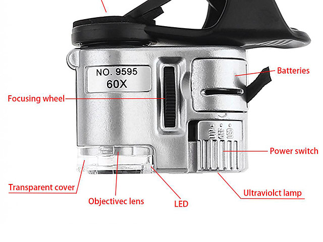 Universal 60X Microscope with White LED and Note Detector LED