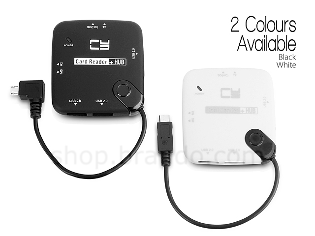 MicroUSB OTG 3-Port Hub with Card Reader