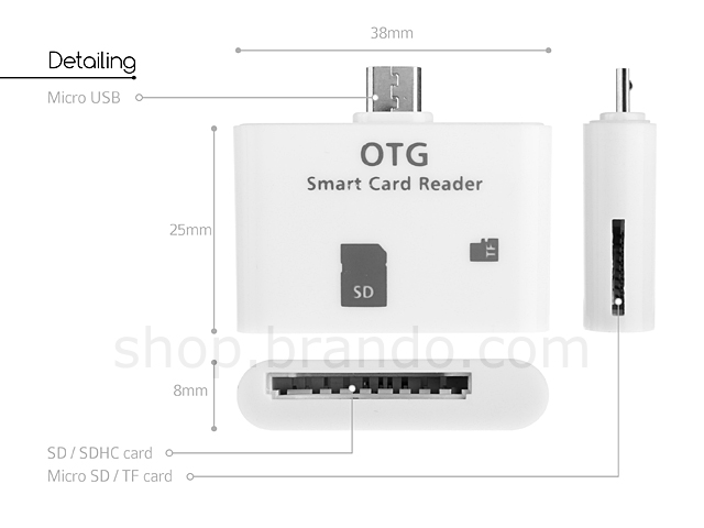 OTG Smart Card Reader Connection Kit  with SD and TF card port