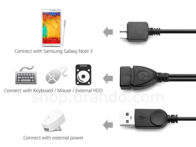 USB 3.0 MicroUSB OTG Cable with USB External Power Supply