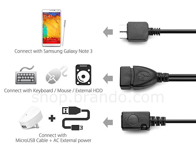 USB 3.0 MicroUSB OTG Cable with MicroUSB External Power Supply