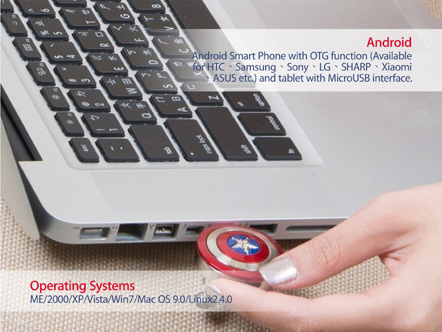 InfoThink Marvel The Avengers - Captain America 2 OTG USB Flash Drive with Necklace