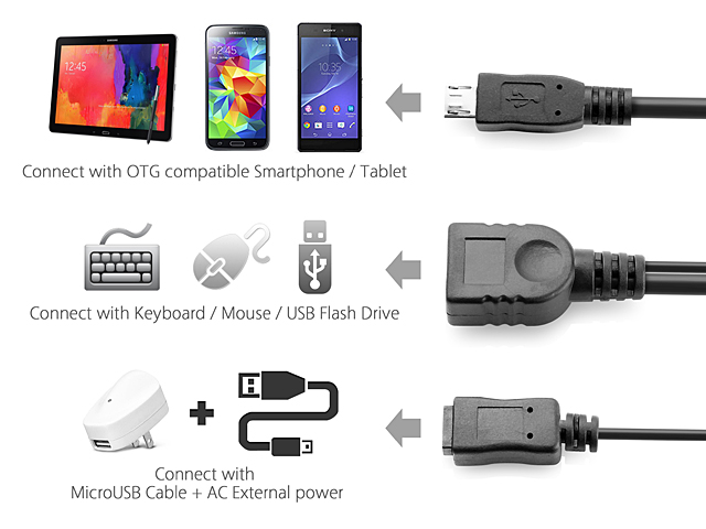 MicroUSB OTG Cable with MicroUSB External Power Supply