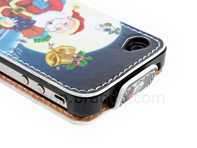 iPhone 4/4S Christmas Santa Claus and Snowman Flip-Top Leather Case
