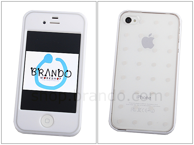 Iphone 4s Plastic Front Cover With Polka Dot Back Cover