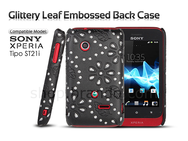 wholesale dealer ab535 c0ccf Sony Xperia Tipo ST21i Glittery Leaf Embossed Back Case
