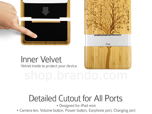 iPad Mini Carved Bamboo Case