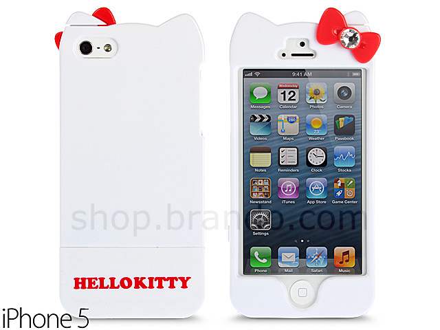 2005ab23e iPhone 5 / 5s Hello Kitty Hard Shell Bling Bling Case with Ear ON/OFF ...