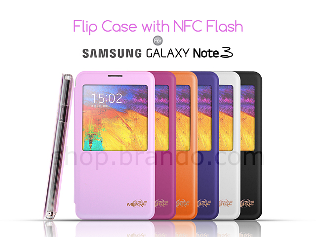 samsung galaxy note  flip case with nfc flash pcd