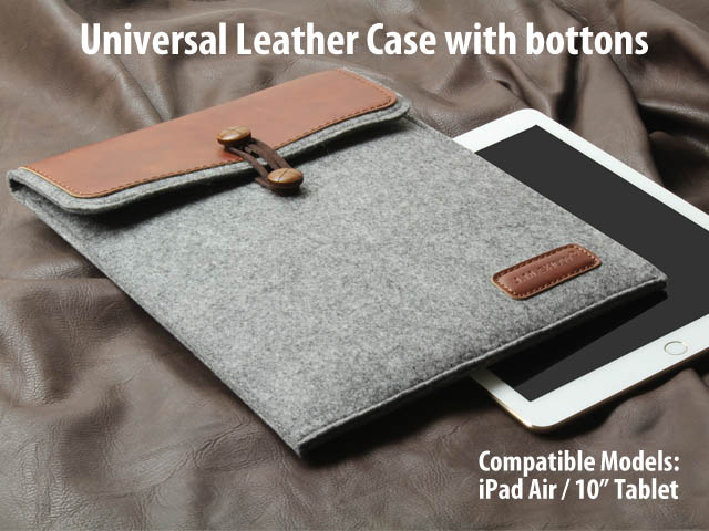 Universal Leather Case with buttons for iPad Air / 10 inch Tablets
