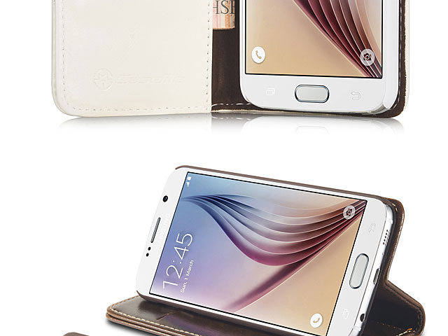 Samsung Galaxy S6 Magnetic Flip Leather Wallet Case