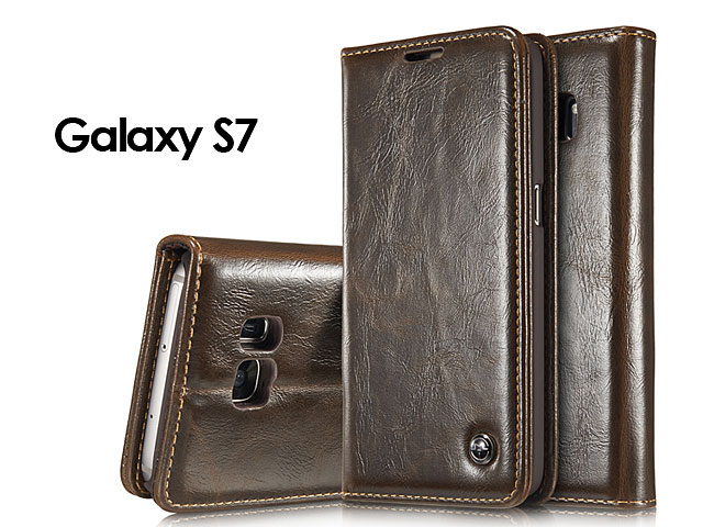 Samsung Galaxy S7 Magnetic Flip Leather Wallet Case
