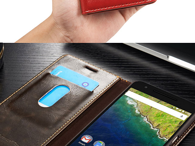 Google Nexus 5X Magnetic Flip Leather Wallet Case