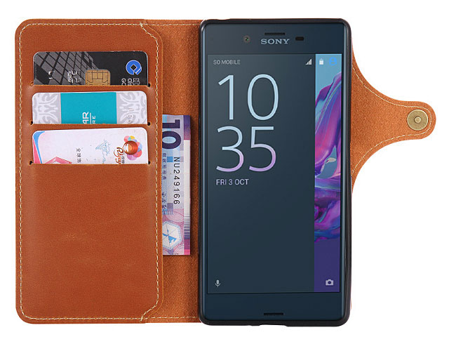 Leather Flip Card Case for Sony Xperia XZ