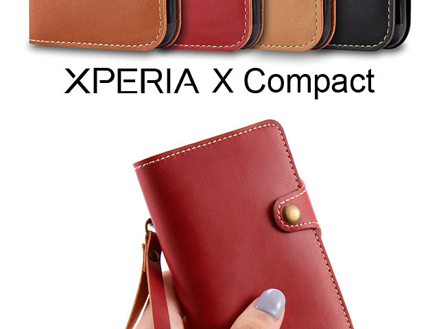 Leather Flip Card Case for Sony Xperia X Compact