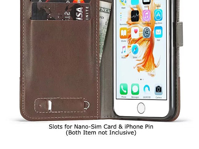iPhone 6 / 6s Canvas Leather Flip Card Case
