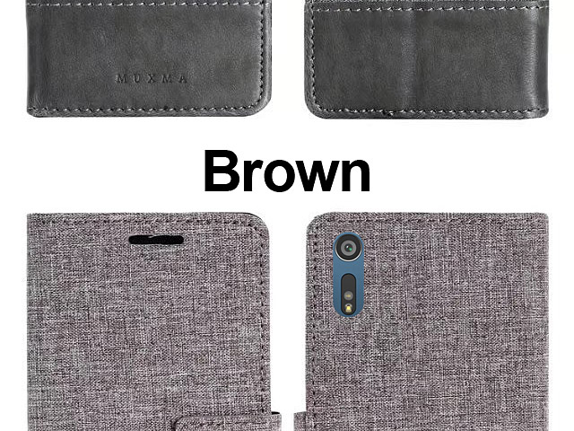 Sony Xperia XZ Canvas Leather Flip Card Case