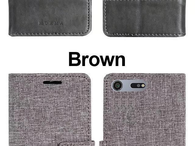 Sony Xperia XZ Premium Canvas Leather Flip Card Case