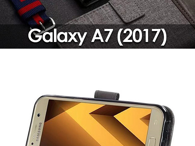 Samsung Galaxy A7 (2017) A7200 Canvas Leather Flip Card Case