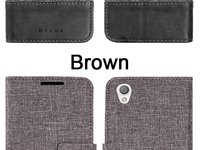 Sony Xperia L1 Canvas Leather Flip Card Case