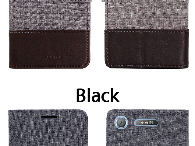 Sony Xperia XZ1 Canvas Leather Flip Card Case