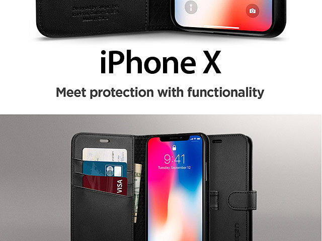 Spigen Wallet S Leather Case for iPhone X