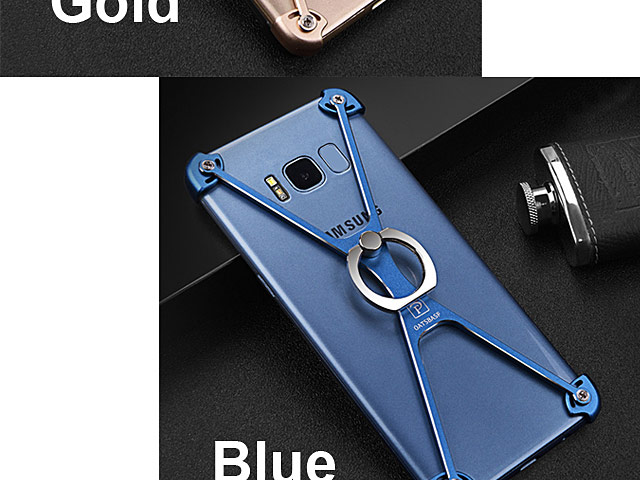 Samsung Galaxy S8 Metal X Bumper Case with Finger Ring