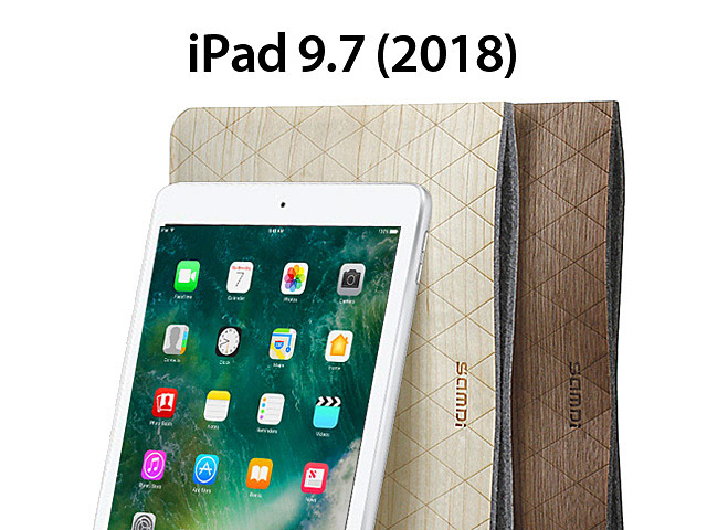 Wood Leather Pouch for iPad 9.7 (2018)