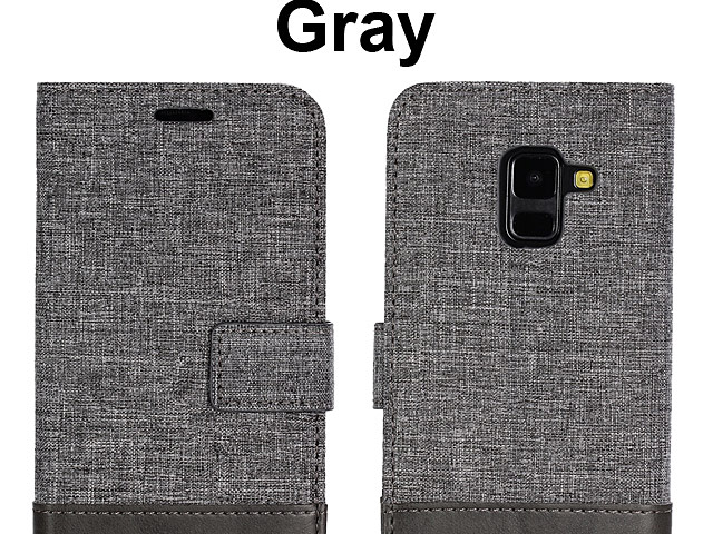 Samsung Galaxy A8+ (2018) Canvas Leather Flip Card Case