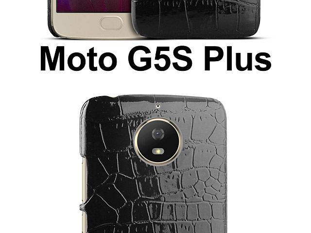 factory authentic 9f1da cac36 Motorola Moto G5S Plus Crocodile Leather Back Case