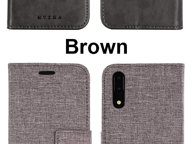 Huawei P20 Canvas Leather Flip Card Case