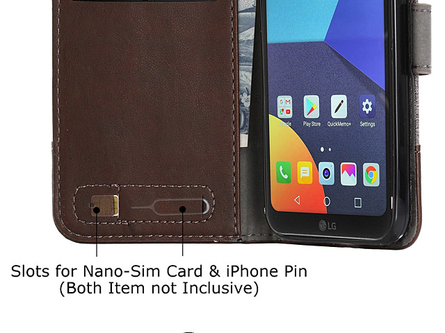 LG Q6 Canvas Leather Flip Card Case