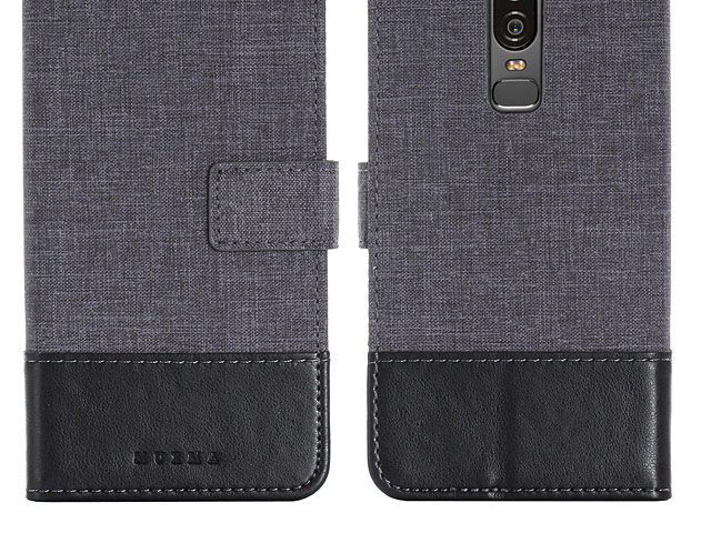 OnePlus 6 Canvas Leather Flip Card Case