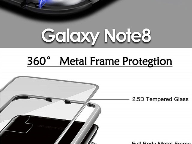 Samsung Galaxy Note8 Magnetic Aluminum Case with Tempered Glass