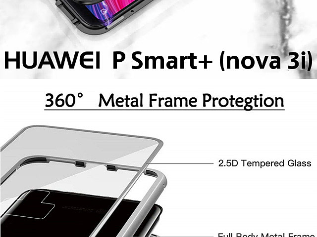 Huawei P Smart+ (nova 3i) Magnetic Aluminum Case with Tempered Glass