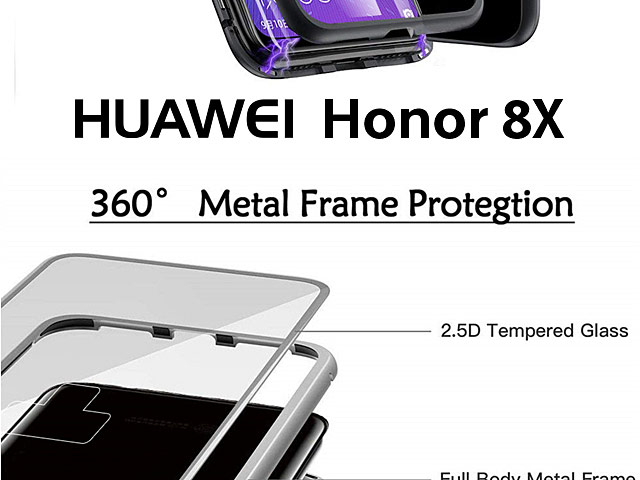 Huawei Honor 8X Magnetic Aluminum Case with Tempered Glass