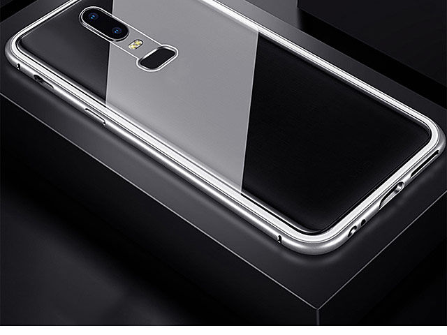 OnePlus 6 Magnetic Aluminum Case with Tempered Glass