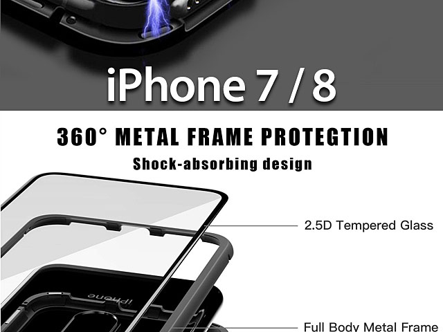 iPhone 7 / 8 Magnetic Aluminum Case with Tempered Glass