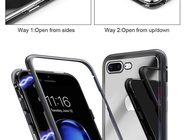 iPhone 7 Plus / 8 Plus Magnetic Aluminum Case with Tempered Glass