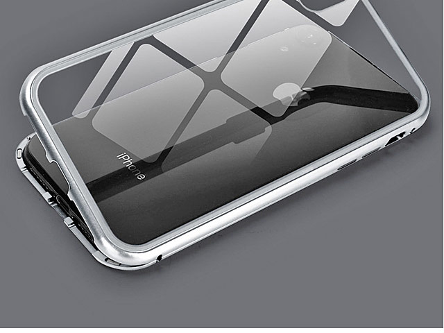 iPhone XR (6.1) Magnetic Aluminum Case with Tempered Glass