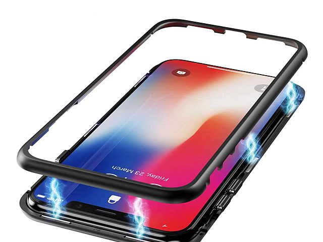 iPhone XS (5.8) Magnetic Aluminum Case with Tempered Glass
