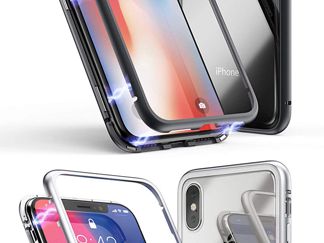iPhone XS Max (6.5) Magnetic Aluminum Case with Tempered Glass