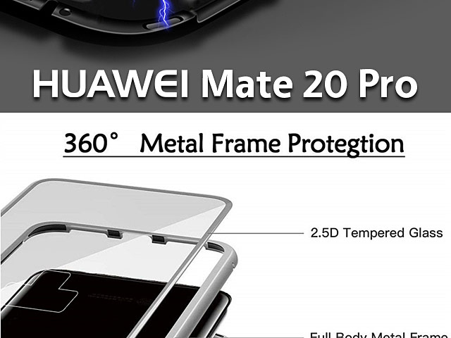 Huawei Mate 20 Pro Magnetic Aluminum Case with Tempered Glass