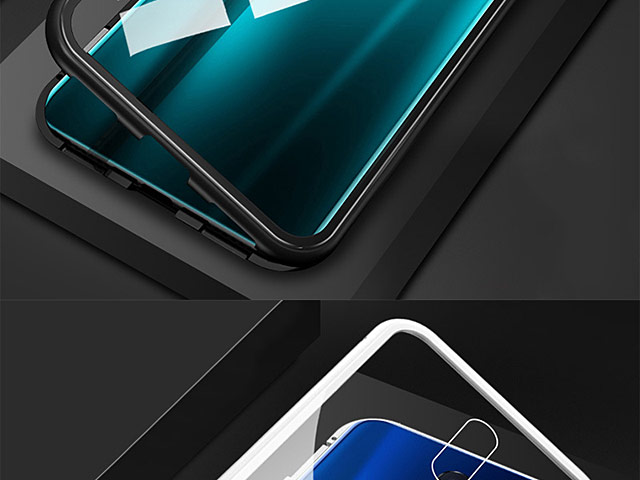 OPPO R17 Magnetic Aluminum Case with Tempered Glass